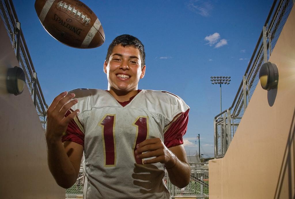 . Downey High School football quarterback Jorge Reyna in Downey August 20, 2013.