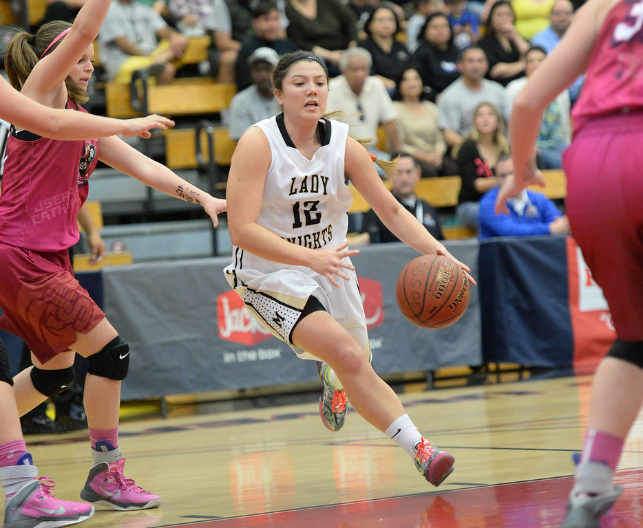 . Bishop Montgomery\'s Christina Delepina in the win over JSerra in the CIF Southern Section Division 4-AA girls basketball final at Azusa Pacific University in Azusa, CA. on Saturday March 8, 2014. (Photo by Sean Hiller/ Daily Breeze).