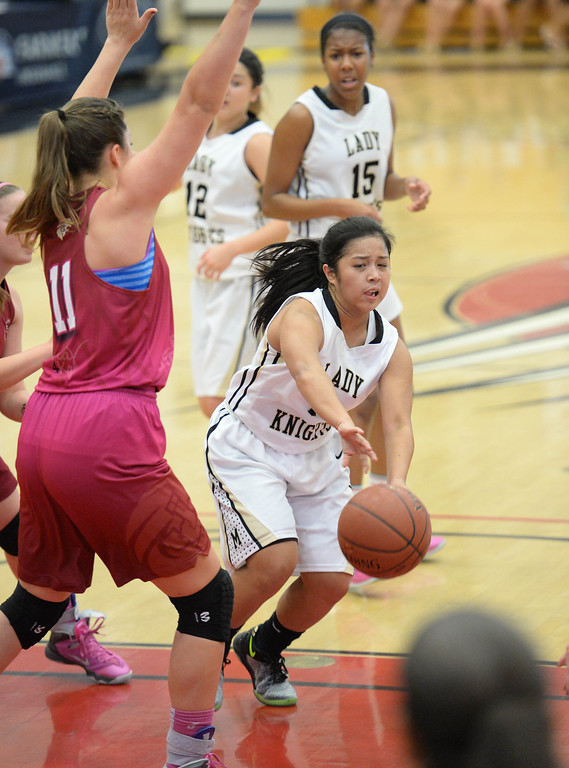 . Bishop Montgomery\'s Jessica Malazarte in the win over JSerra in the CIF Southern Section Division 4-AA girls basketball final at Azusa Pacific University in Azusa, CA. on Saturday March 8, 2014. (Photo by Sean Hiller/ Daily Breeze).