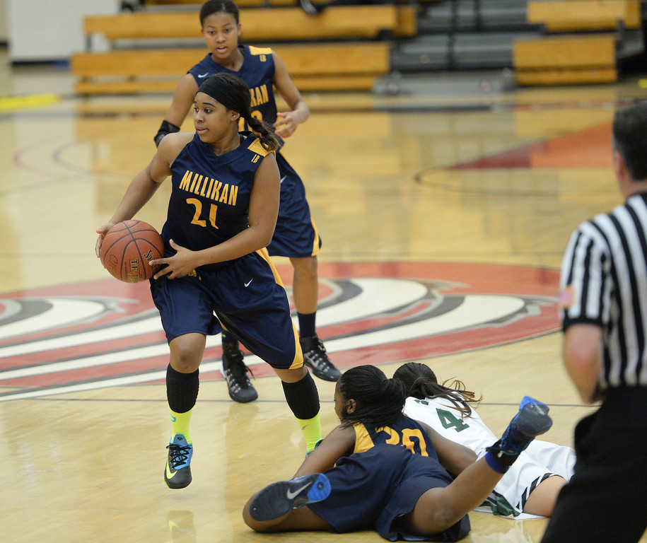 . Millikan\'s Kaylin Ellis breaks away with the ball against  Bonita in the CIF Southern Section Division 1-AA girls basketball final at Azusa Pacific University in Azusa, CA. on Saturday March 8, 2014. (Photo by Sean Hiller/ Daily Breeze).