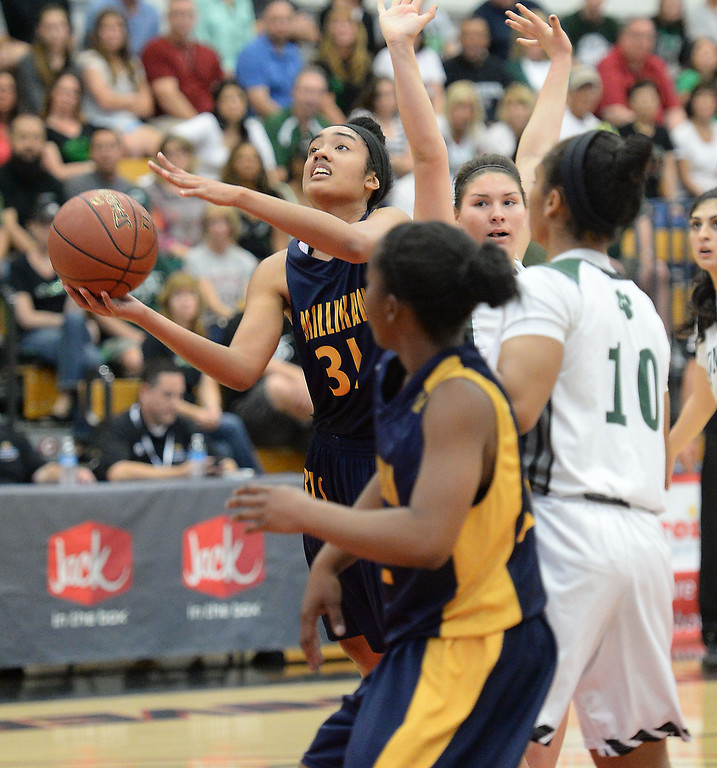 . Millikan\'s Alyssa Benton battles Bonita in the CIF Southern Section Division 1-AA girls basketball final at Azusa Pacific University in Azusa, CA. on Saturday March 8, 2014. (Photo by Sean Hiller/ Daily Breeze).