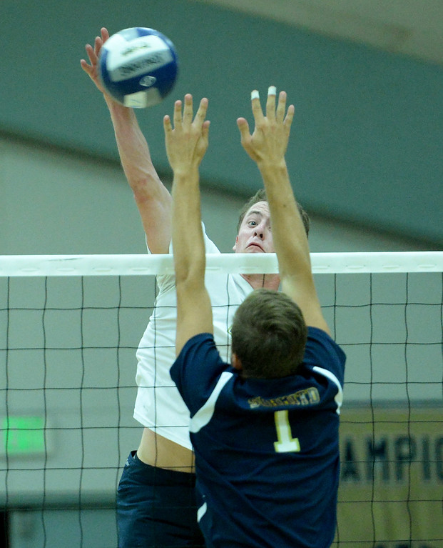 . St. John Bosco\'s Brett Baldwin battles West Ranch in the CIF-SS Division 1 Boys\' Volleyball Playoff game in Bellflower, CA. on Tuesday May 13, 2014. (Photo by Sean Hiller/ Daily Breeze).