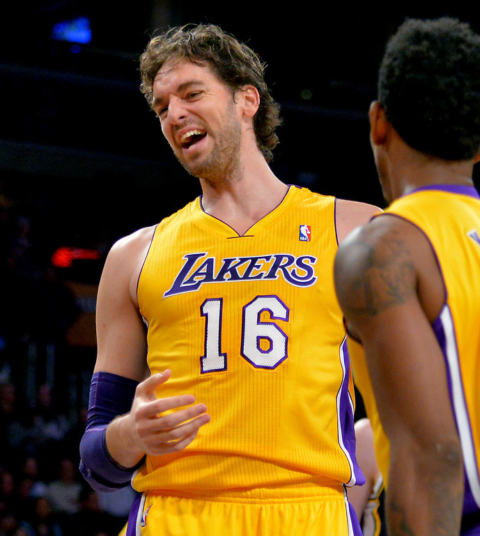. Los Angeles Laker Pau Gasol enjoys the preseason game against the Utah Jazz iat Staples Center in Los Angeles, CA. on Tuesday, October 22, 2013. (Photo by Sean Hiller/Daily News)