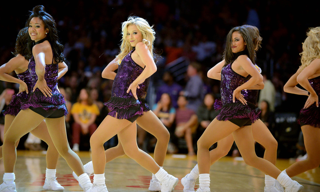 . Los Angeles Lakers entertain the crowd as the Lakers host the Utah Jazz in the NBA preseason basketball game at Staples Center in Los Angeles, CA. on Tuesday, October 22, 2013. (Photo by Sean Hiller/Daily News)