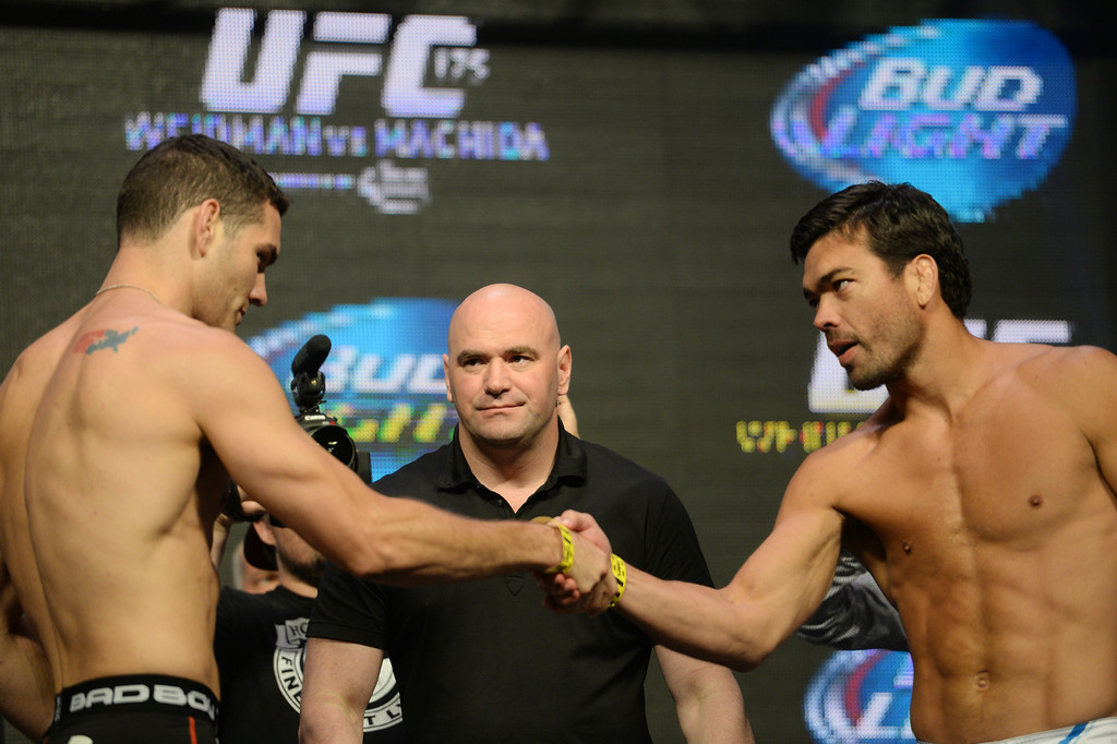 . UFC Middleweight champion Chris Weidman and challenger Lyoto Machida during weigh-ins for UFC 175 at the Mandalay Bay Events Center July 4, 2014. (Photo by Hans Gutknecht/Los Angeles Daily News)