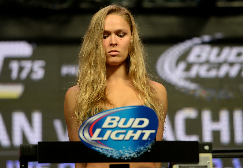 . UFC Women\'s Bantamweight Champion Ronda Rousey during weigh-ins for UFC 175 at the Mandalay Bay Events Center July 4, 2014. (Photo by Hans Gutknecht/Los Angeles Daily News)