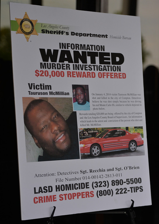 . A $20,000 reward for information in the shooting death of Tauruson McMillian who was killed on January 4, 2014 in Compton. McMillian was driving through the city in his red SS Monte Carlo when approached and shot. Compton April 23, 2014. (Photo by Brittany Murray / Daily Breeze)