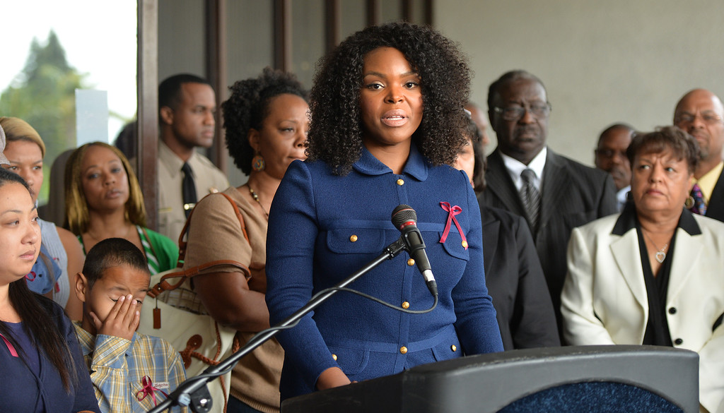 . Compton Mayor Aja Brown speaks during a press conference in Compton to announce a $20,000 reward for information in the shooting death of Tauruson McMillian who was killed on January 4, 2014 in Compton. McMillian was driving through the city in his red SS Monte Carlo when approached and shot. Compton April 23, 2014. (Photo by Brittany Murray / Daily Breeze)