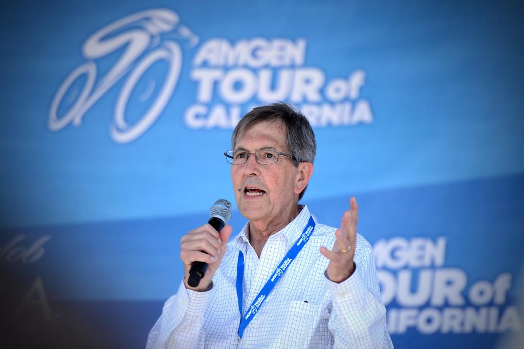 . Mayor Bill Bogaard speaks after Stage 7 of the Amgen Tour of California came through Pasadena Saturday, May 17, 2014. (Photo by Sarah Reingewirtz/Pasadena Star-News)
