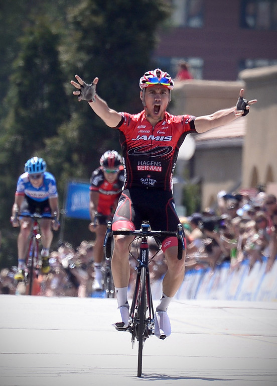 . Eloy Teruel mistakingly crosses the finish line thinking he won Stage 7 of the Amgen Tour of California in Pasadena Saturday, May 17, 2014. Peter Sagan, of the Cannondale team, won stage 7. (Photo by Sarah Reingewirtz/Pasadena Star-News)