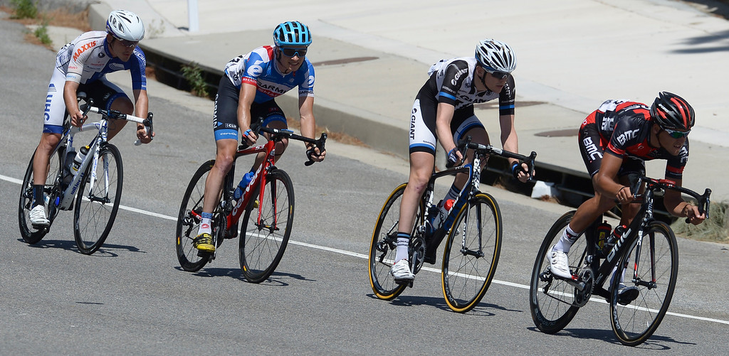 . Riders broke away from the pack in the run down Angeles Crest Highway. Leading the pack is Greg Van Avermaet, followed by Benjamin King, Chad Haga, and Lars Boom. The Amgen Tour of California stage 7 started at the Town Center Mall in Valencia. The 88.7 mile trek took a serpentine route through the Angeles National Forest before ending in Pasadena. La Canada Flintridge, CA. 5/17/2014(Photo by John McCoy / Los Angeles Daily News)