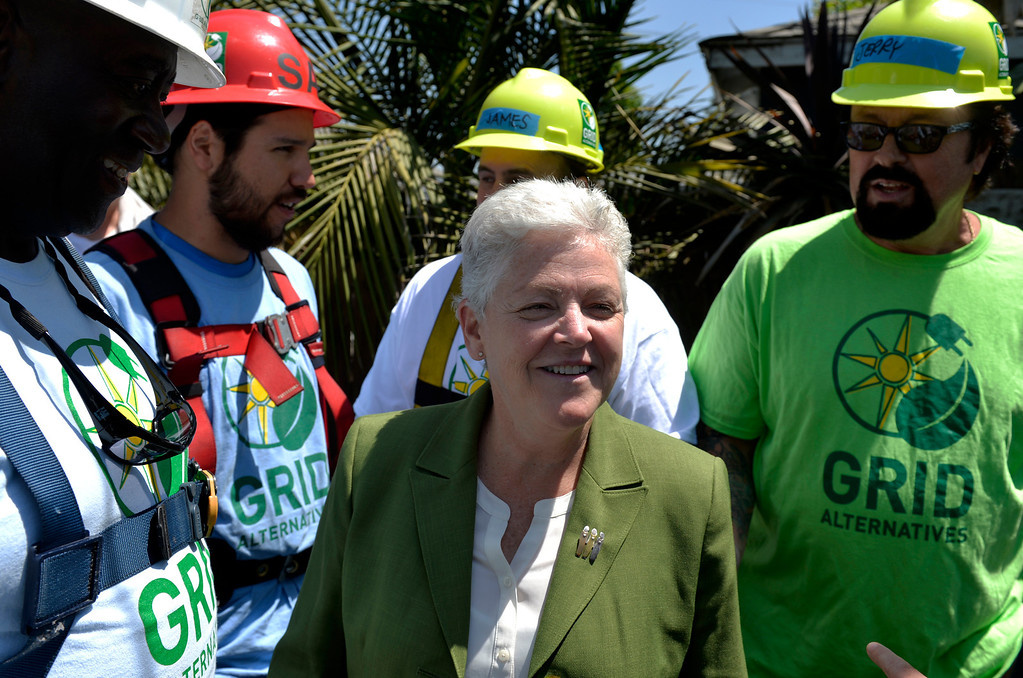 . Gina McCarthy, administrator for the U.S. Environmental Protection Agency at a home where a free 2.8kW solar power system is installed in Long Beach, CA. Friday June 13, 2014. The system was installed by students from Los Angeles Trade Technical College�s Solar PV Technician certificate program. The college is partnering with GRID Alternatives, a non-profit group that provides job trainees with hands on experience and low-income families with lower energy bills. After installation, the energy system will supply between 75 and 90 percent of the homes energy needs. (Thomas R. Cordova-Daily Breeze/Press-Telegram)