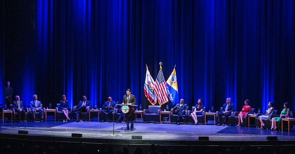 . Mayor Robert Garcia, the 28th Mayor of Long Beach does his speech after he was sworn-in at the Terrace Theater in Long Beach, CA. Tuesday July 15, 2014. (Thomas R. Cordova-Daily Breeze/Press-Telegram)