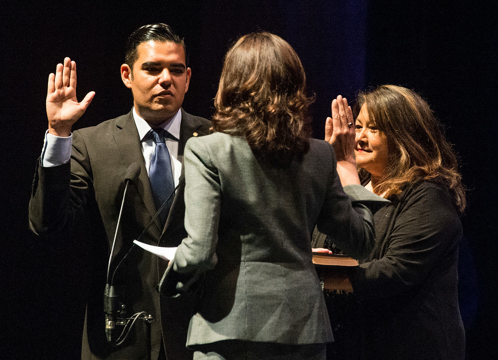 . Mayor Robert Garcia is sworn-in as the 28th Mayor of Long Beach at the Terrace Theater in Long Beach, CA. Tuesday July 15, 2014. (Thomas R. Cordova-Daily Breeze/Press-Telegram)