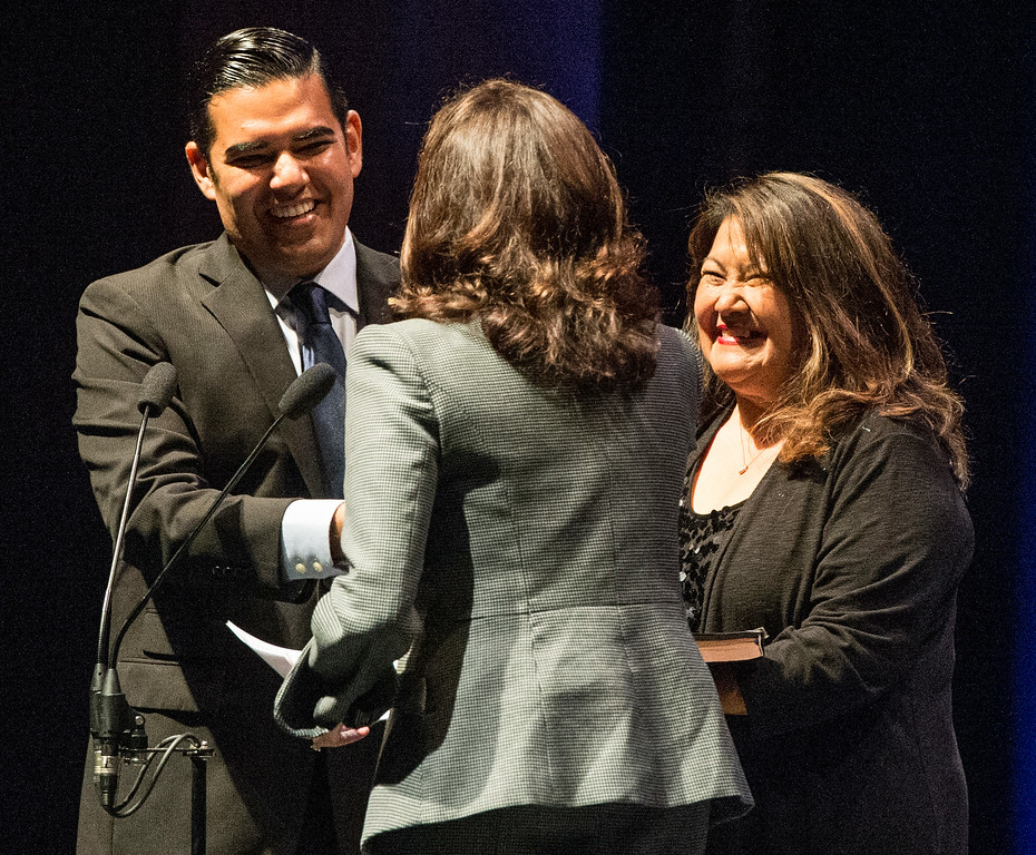 . Gaby O\'Donnell stands next to his son Mayor Robert Garcia who is all smiles after being sworn-in as the 28th Mayor of Long Beach at the Terrace Theater in Long Beach, CA. Tuesday July 15, 2014. (Thomas R. Cordova-Daily Breeze/Press-Telegram)