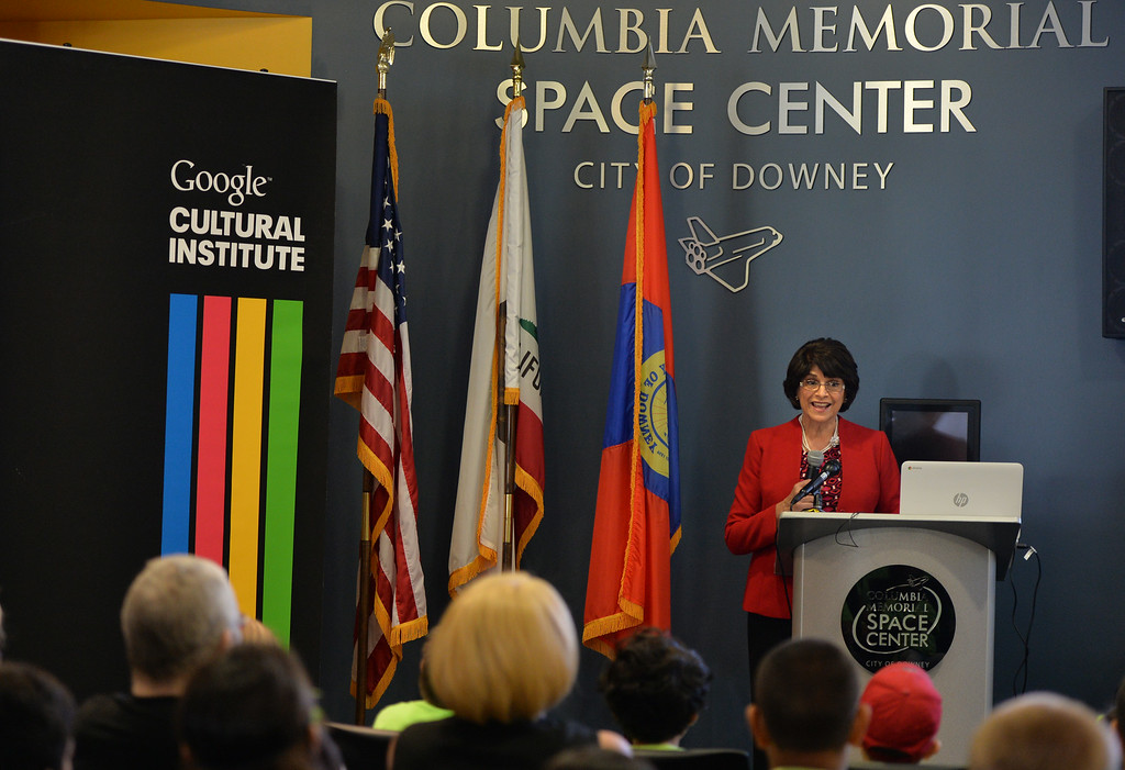 . Congresswoman Lucille Roybal-Allard speaks at the Columbia Memorial Space Center in Downey to celebrate their  partnership with the Google Cultural Institute. The partnership makes a selection of images, ranging from space shuttles built when the city was home to vast aerospace manufacturing facilities to their state of the art learning center visited by thousands of students each year, accessible to a global audience. Long Beach August 7, 2014. (Photo by Brittany Murray / Daily Breeze)