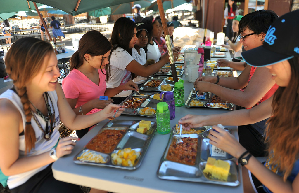 . Wednesdays lunch was a chilli treat for campers. The kids are enjoying the mountains for a week at Camp River Glen, a much different environment than their usual inner city home lives across Southern California. August 6, 2014. (Photo by Brittany Murray / Daily Breeze)