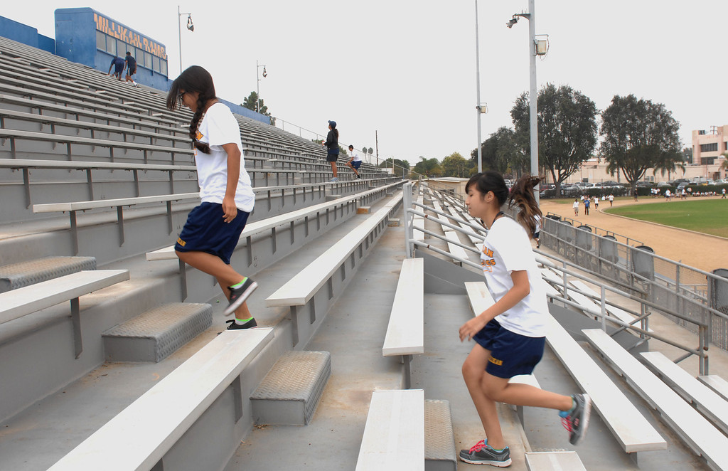 . Students at Millikan High School participate in physical education in Long Beach.  The 2013 Physical Fitness Test results for fifth-, seventh- and ninth-grade California students were released today, October 23, 2013. (Photo by Brittany Murray/Press Telegram)