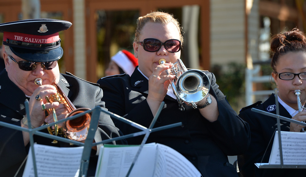 . The Salvation Army Brass Band plays at the annual kettle kick off event Long Beach, November 30, 2013. (Photo by Brittany Murray / Press Telegram)