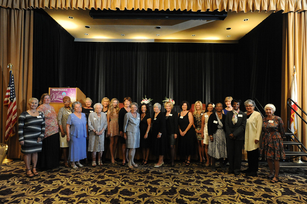 . The 21 women being honored at the Press Telegram Amazing Women 2013 Gala pose for a picture at the start of the event in Lakewood, CA. on Wednesday, November 13, 2013. (Photo by Sean Hiller/Press Telegram).