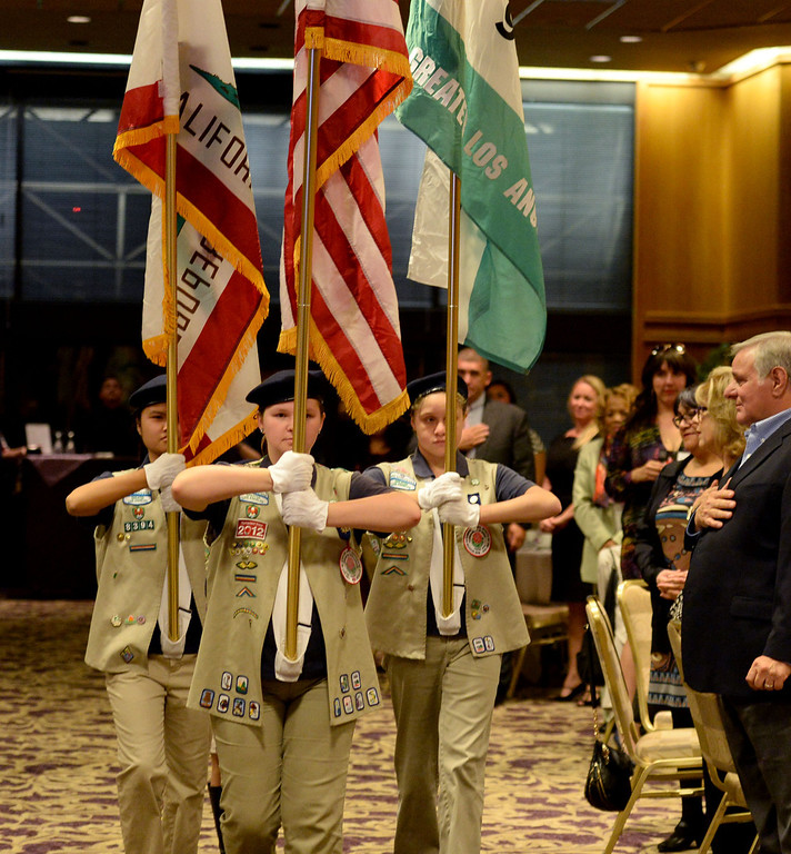 . Girl Scouts of America Color Guard presents the flags at the Press Telegram Amazing Women 2013 Gala in Lakewood, CA. on Wednesday, November 13, 2013. (Photo by Sean Hiller/Press Telegram).
