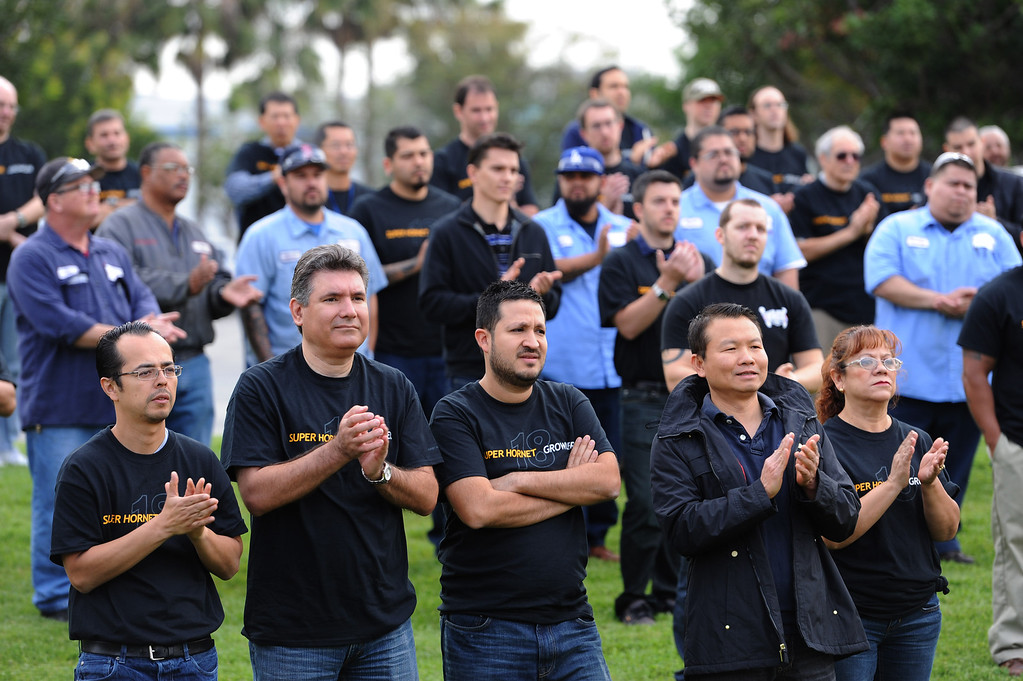 . Rally held at Moog Aircraft Group in Torrance to support local jobs and more advanced fighter jets. Photo by Brad Graverson 3-21-14