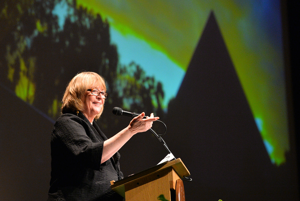 . New CSULB President Jane Close Conoley delivers her first State of the University convocation address at the Carpenter Performing Arts Center on campus.  (Aug. 22 2014 Photo by Brad Graverson/The Press Telegram)