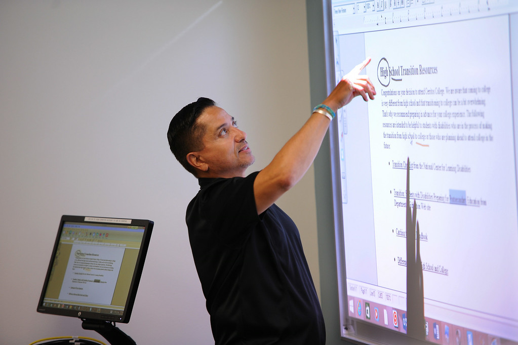 . Irv Bartikofski, Disabled Student Specialist. First day of classes at Cerritos College for the fall semester. Students will see new buildings, programs and food services. Enrollment is up 5.8%. (Aug. 18 2014 Photo by Brad Graverson/The Press Telegram)