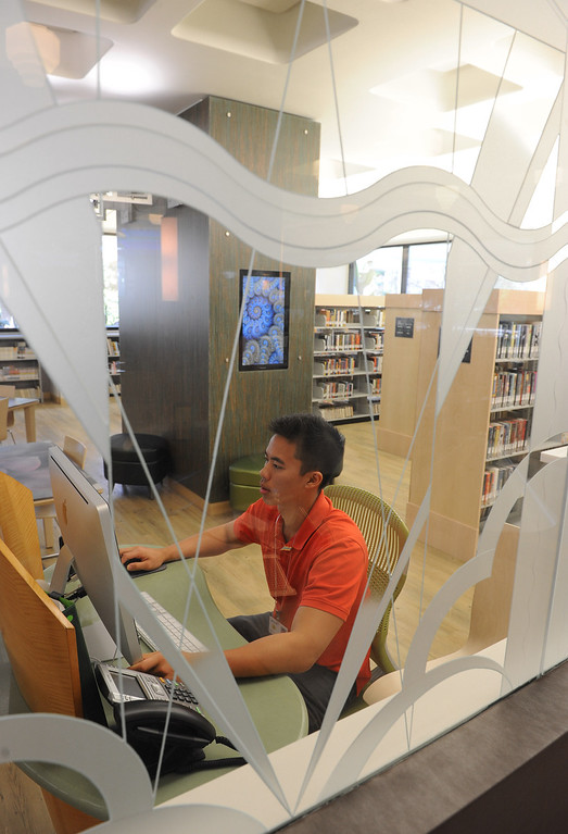 . The new Teen Studio is a place for teens to gather, study and meeet up. The Cerritos Library is is more like a public information center and gathering place. Lots of books, but also art, music and computers.   (Fri Nov. 8, 2013 Photo by Brad Graverson/The Daily Breeze)