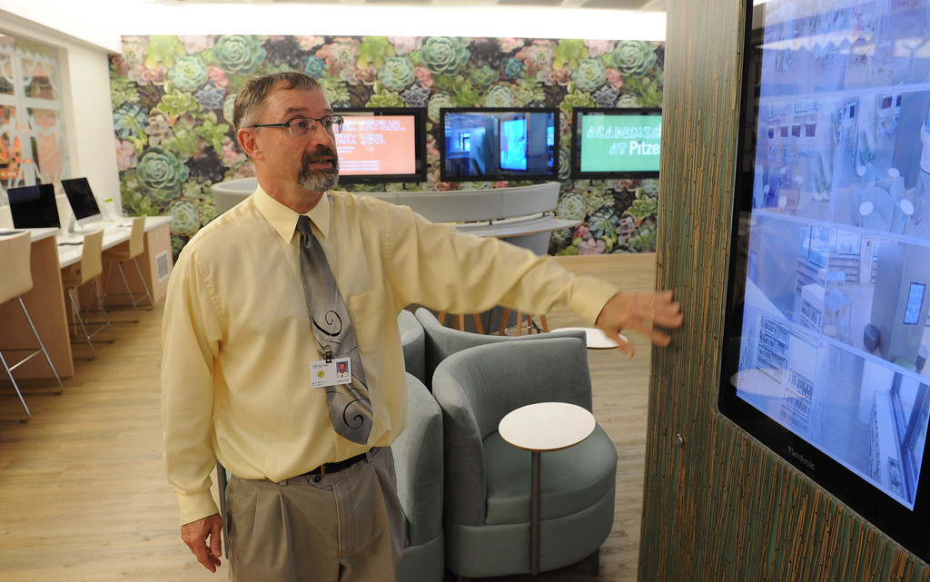 . Librarian Don Buckley in the new Teen Studio. The Cerritos Library is is more like a public information center and gathering place. Lots of books, but also art, music and computers.   (Fri Nov. 8, 2013 Photo by Brad Graverson/The Daily Breeze)