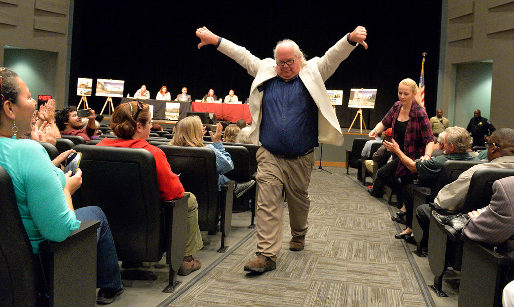 . After speaking for his 3 minutes George Buzzetti walks away with his thumbs down as the Centinela Valley school board holds its second school board meeting since the scandal over Superintendent Jose Fernandez\'s employment contract erupted in early February in Lawndale CA. Tuesday March 11, 2014. (Thomas R. Cordova-Daily Breeze/Press-Telegram)