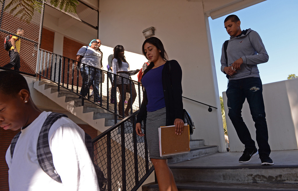 . At El Camino College, students evacuate for the Great California Shake Out Drill, held Thursday morning throughout the state. Photo by Brad Graverson/The Daily Breeze 10/17/13