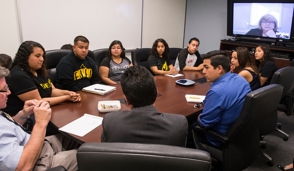 Description of . CSULB AB 540 students gathered in the President's Conference Room  to meet with incoming President Jane Close Conoley via Skype, to discuss creating a DREAM Center on campus for illegal immigrant students in Long Beach, CA. Tuesday April 29, 2014. . Center would provide counseling. (Thomas R. Cordova-Daily Breeze/Press-Telegram)
