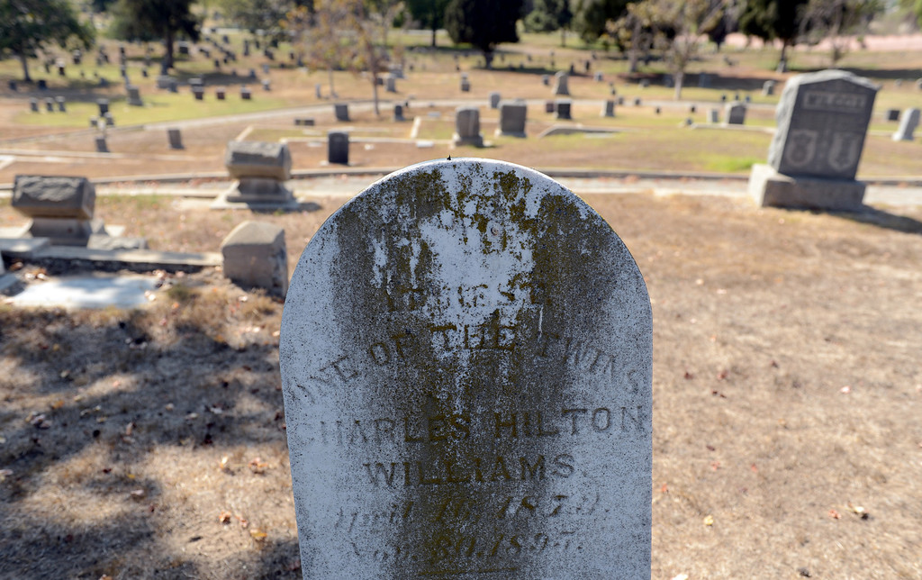 . A tombstone from the late 1800\'s at Long Beach first cemetery, Municipal Cemetery in Long Beach CA Wednesday October 2, 2013.  (Photo by Thomas R. Cordova/ Daily Breeze)