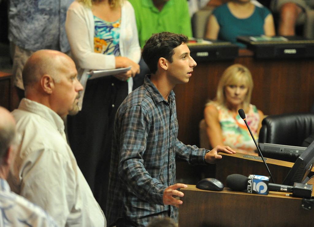 . The Manhattan Beach City Council heard public comment about the possible ban on fishing off the pier after a swimmer was bitten by the great white shark in Manhattan Beach, CA. on Tuesday July 15, 2014. (Photo by Sean Hiller/ Daily Breeze).