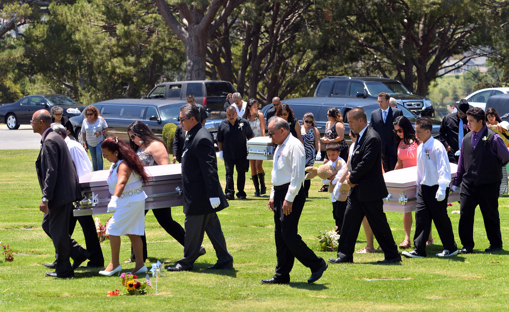 . Three caskets arrive at Green Hills Memorial Park. Funeral services for three murdered Coronado children from the Carson area.  Green Hills Memorial Park in Rancho Palos Verdes.    (June 2, 2014 Photo by Brad Graverson/The Daily Breeze)