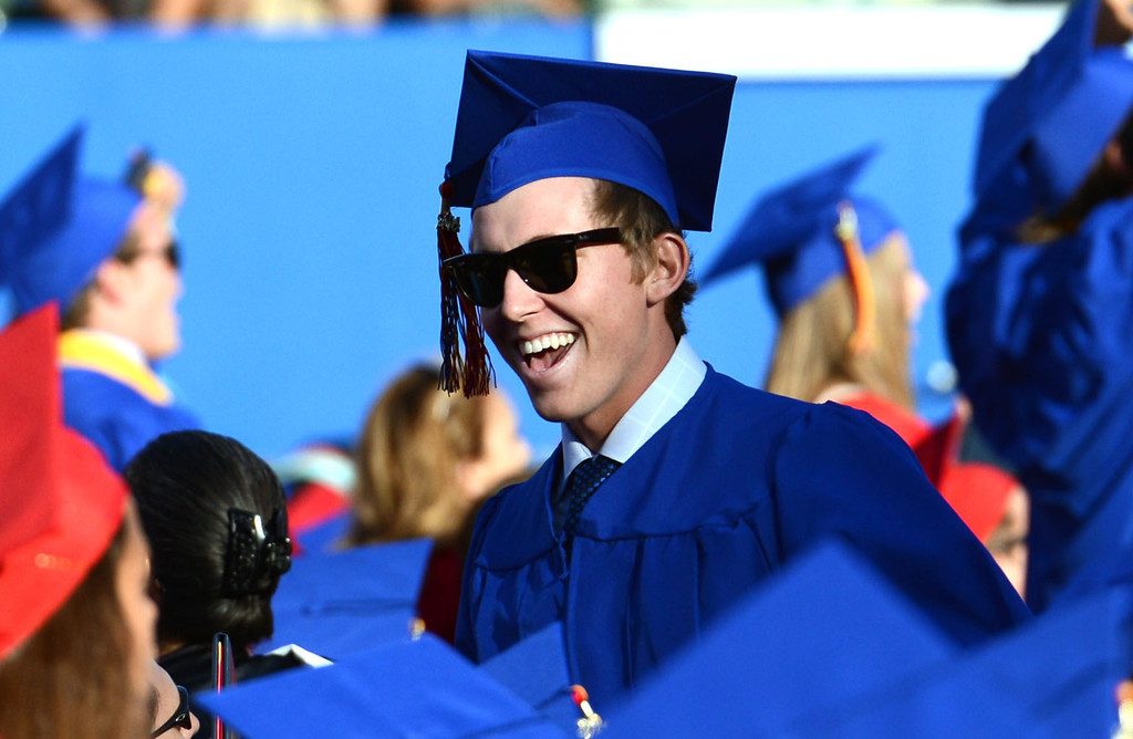 . Los Alamitos High School graduates during The Los Alamitos Commencement Exercise, at the StubHub Center in Carson Calif.,  Thursday evening.   Long Beach Calif., Wednesday June12,  2014.     (Photo by Stephen Carr / Daily Breeze)