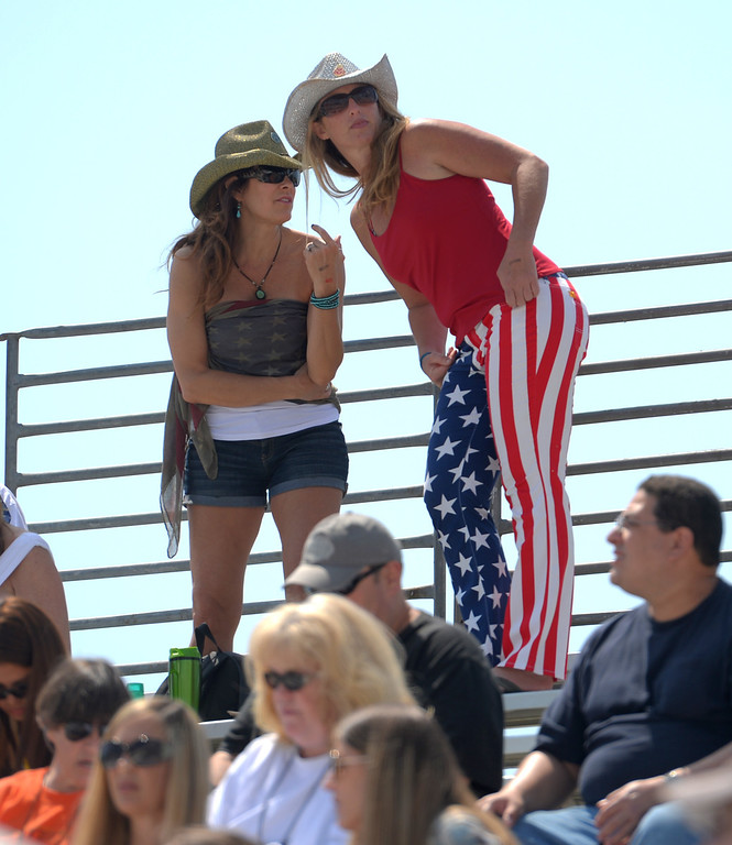 . Fans show their patriotism at the Pro Celebrity Race at the 40th Annual Toyota Grand Prix of Long Beach in Long Beach, CA. on Saturday April 12, 2014. (Photo by Sean Hiller/ Daily Breeze).
