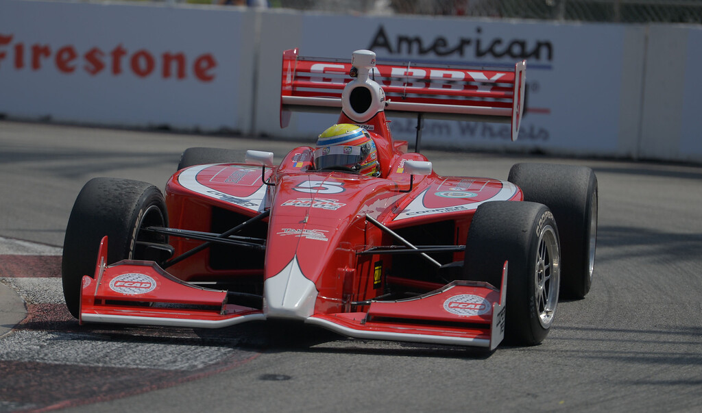 . Gabby Chaves qualifies in second place with a time of 1:15.0349 in the Indy Lights qualifying round in the 40th Annual Toyota Grand Prix of Long Beach in Long Beach, CA. on Saturday April 12, 2014. (Photo by Sean Hiller/ Daily Breeze).