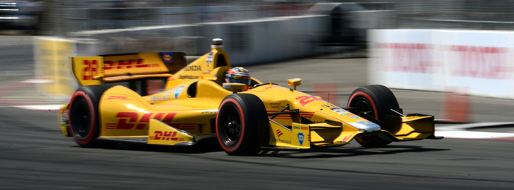 . IndyCar driver Ryan Hunter -Reay during his winning run in the IndyCar Qualifying & Firestone Fast 6 Saturday, at the 40th Annual Toyota Grand Prix of Long Beach.       Long Beach Calif., Saturday, April 12,  2014.   (Photo by Stephen Carr / Daily Breeze)