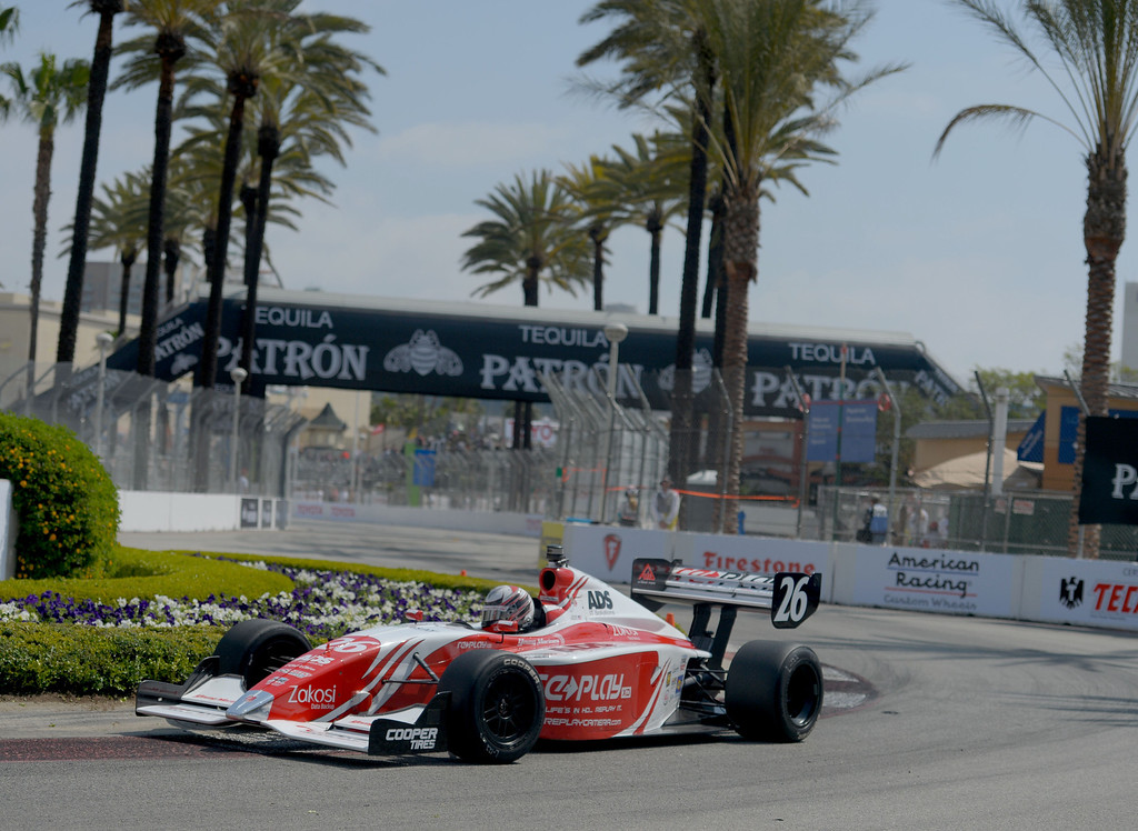 . Zach Veach qualifies in first place with a time of 1:15.0074 in the Indy Lights qualifying round in the 40th Annual Toyota Grand Prix of Long Beach in Long Beach, CA. on Saturday April 12, 2014. (Photo by Sean Hiller/ Daily Breeze).