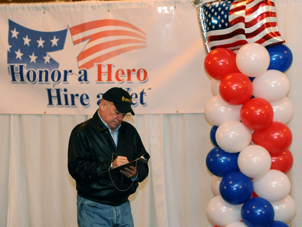 . U.S. Navy veteran Bob Spencer of Westchester fills out forms at the Honor a Hero, Hire a Vet job fair held Thursday at the Proud Bird Restaurant near LAX. Photo by Brad Graverson/The Daily Breeze 11/21/13