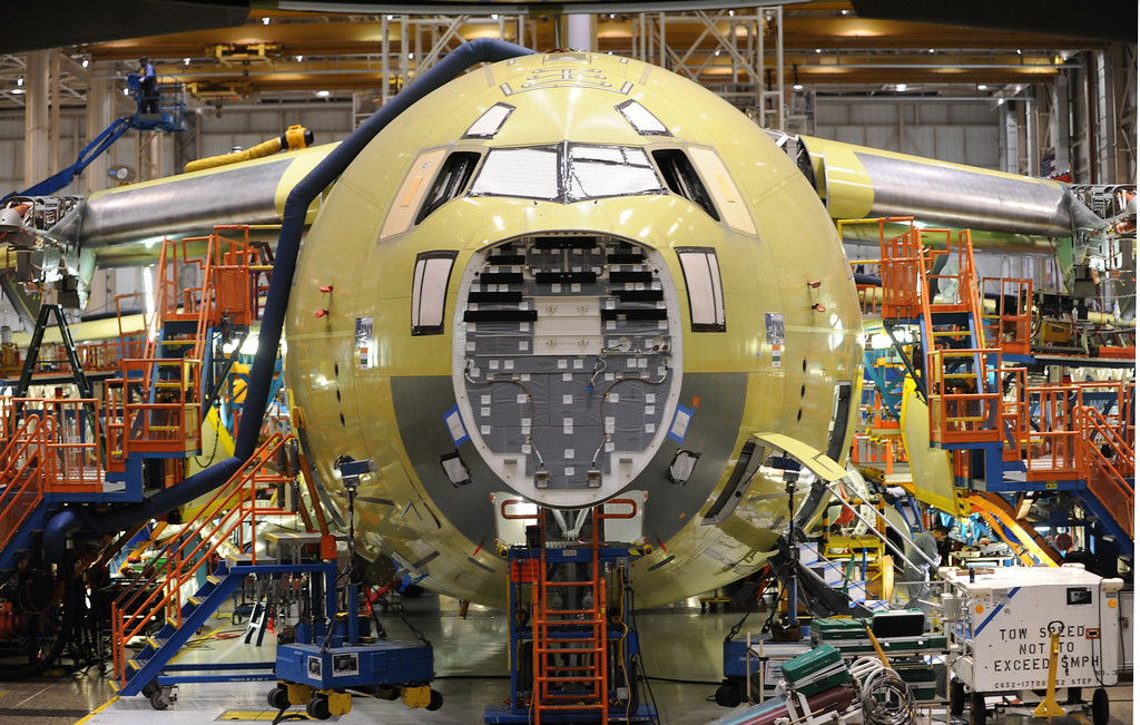 . Long Beach, Calif., -- 08-13-13-   A Boeing C-17 Globemaster III is assembled at the C-17 plant in Long Beach Calif.    Stephen Carr/  Los Angeles Newspaper Group