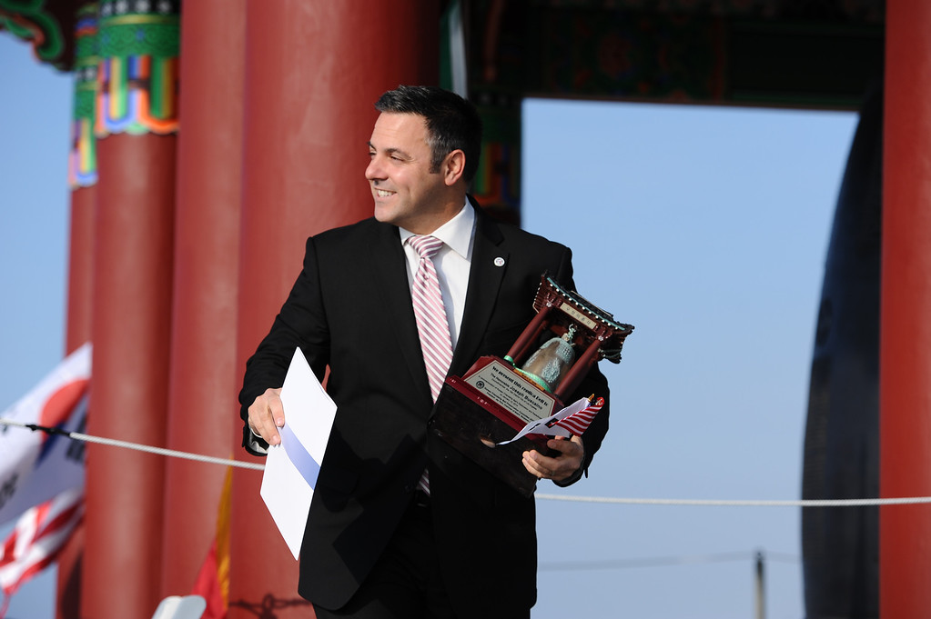 . San Pedro Korean Friendship Bell ceremony to re-dedicate the recently restored bronze monument. Councilman Joe Buscaino was presented a miniature Friendship Bell.  (Jan 10, 2014. Photo by Brad Graverson/The Daily Breeze)