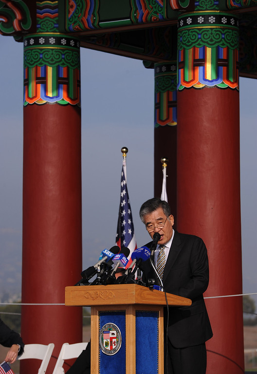 . San Pedro Korean Friendship Bell ceremony to re-dedicate the recently restored bronze monument.  Korean Consul General Shin Yeon Sung. (Jan 10, 2014. Photo by Brad Graverson/The Daily Breeze)