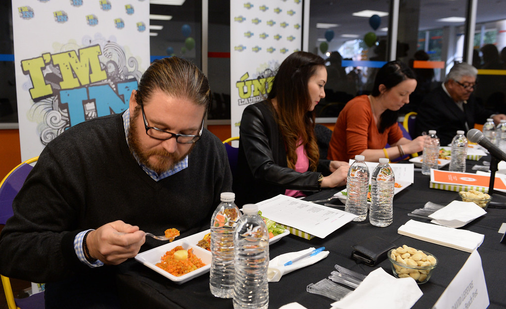 """. LAUSD \""""Cooking Up Change\"""" culinary competition for high school students held at LA TradeTechnical College. David LeFavre, Manhattan Beach Post restaurant was a judge.  (Thurs. Jan 30, 2014 Photo by Brad Graverson/The Daily Breeze)"""