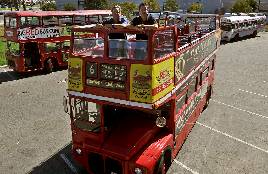 . 10/8/13 - L-R Mike O\'Toole and  Peter Joseph co-owners of of a small fleet of four buses, three that are old double-deck British models. They provide tours along the coast, mainly form Long Beach to Huntington Beach. (Photo by BrittanyMurray/Press Telegram)