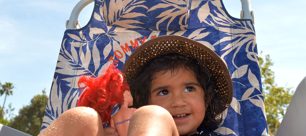 . Abigail Sanchez, 2, enjoys a day along the shore at Mothers Beach in Long Beach, CA. on Thursday May 1, 2014. (Photo by Sean Hiller/ Daily Breeze).