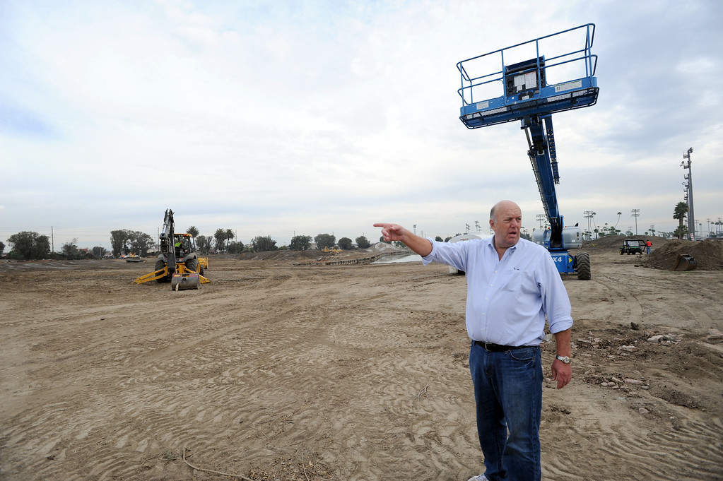 . Race track consultant Brad McKinzie, on the site where construction crews are expanding Los Alamitos Race Course. The course will add thoroughbred racing next year, to compensate for loss of the closed Hollywood Park Racetrack.   Los Alamitos, Calif. Wednesday December 18, 2013.   (Photo by Stephen Carr / Daily Breeze)