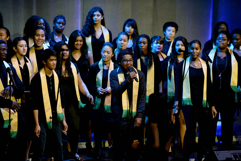 . Long Beach Poly High\'s  Inspirational Glee perform before Mayor Foster delivers his last State of the City annual address at the Pacific Ballroom at the Long Beach Arena in Long Beach, CA. on Tuesday, January 14, 2014. (Photo by Sean Hiller/ Daily Breeze).